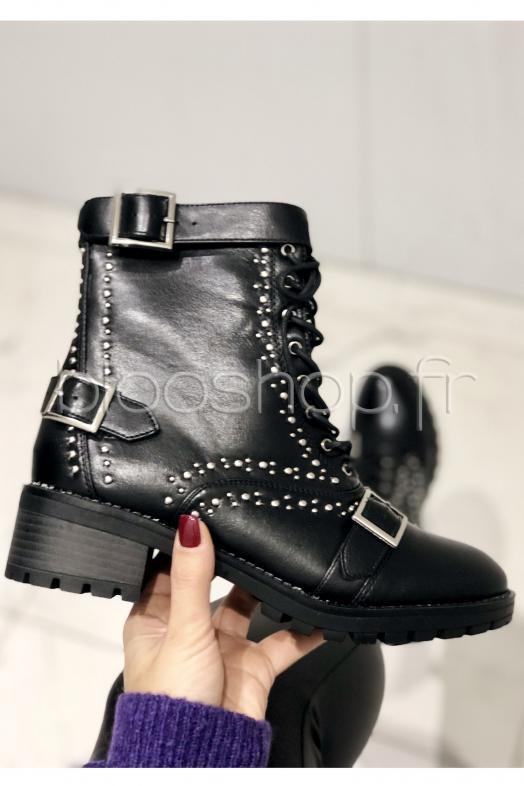 23fa319c8c8 Boot´s Lacets + Boucles Femme Noir   Réf   6669