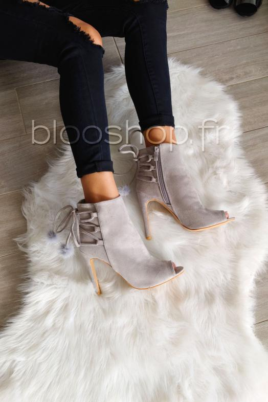 Bottines Pompoms Gris / Réf : 100-712ES