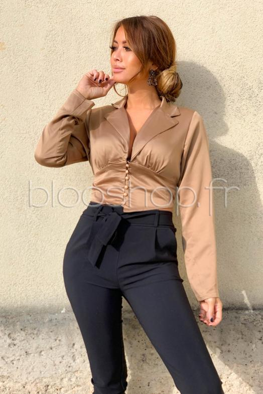 Chemise Cropped Femme Satiné Taupe / Réf : 4223