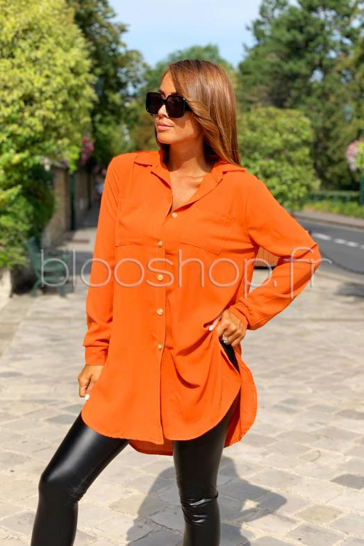Chemisier Long Femme Orange / Réf : 8260