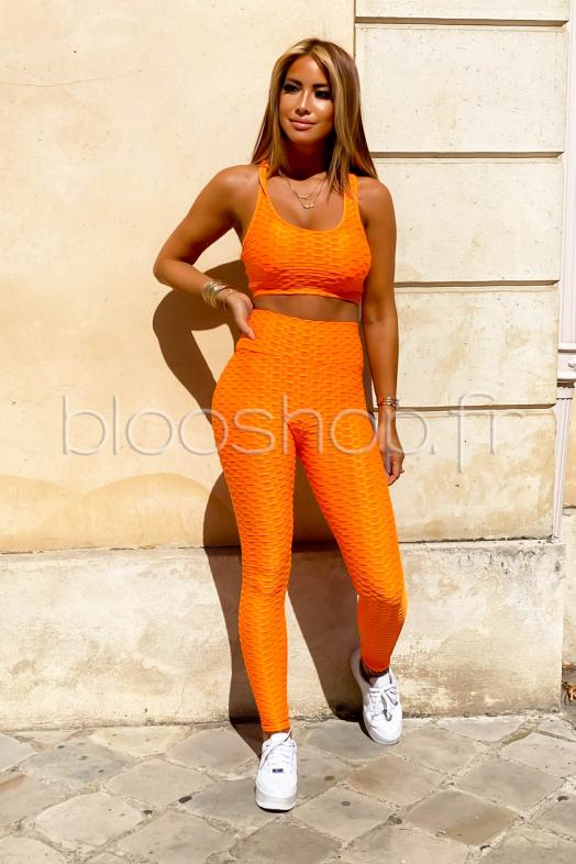 Ensemble Femme Crop Top + Legging Orange / Réf : 7762