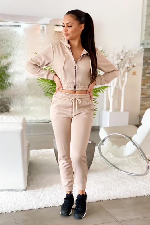 Ensemble Femme Sweat + Jogging Beige / Réf : 1777-2