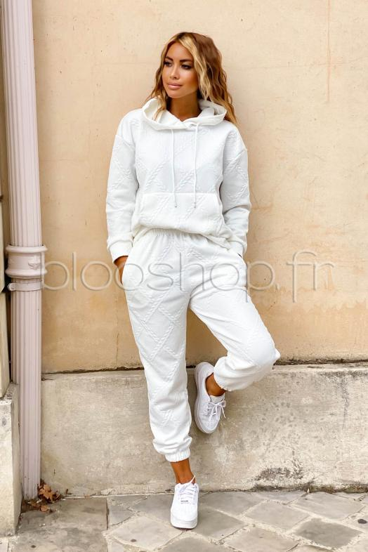Ensemble Femme Sweat + Jogging Blanc / Réf : 8071