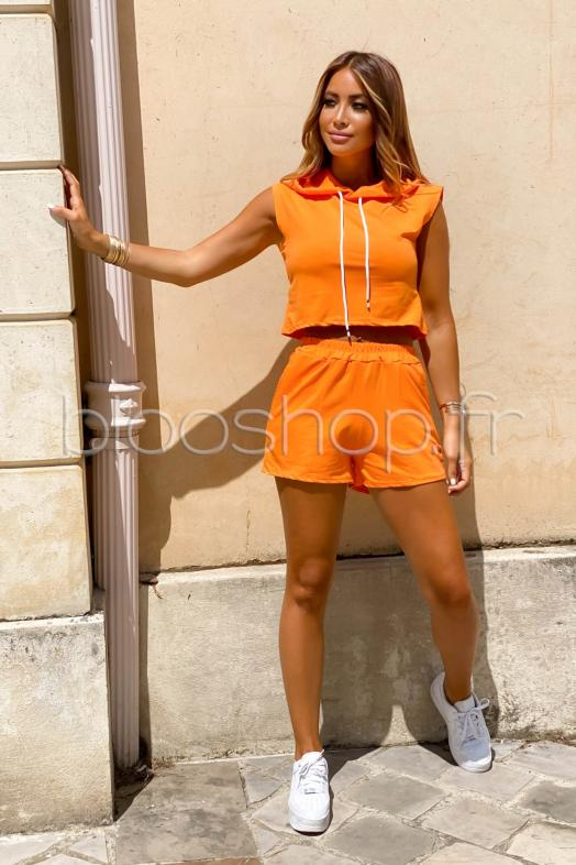 Ensemble Femme Sweat Sans Manches + Short Orange / Réf : 1986
