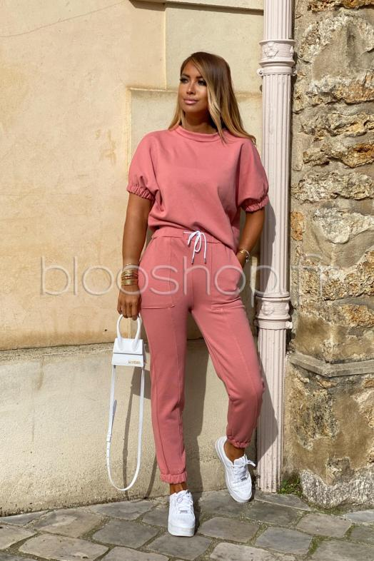 Ensemble Femme T-shirt + Jogging Terracotta / Réf : 7260