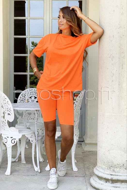 Ensemble T-Shirt + Cycliste Femme Orange / Réf : 730