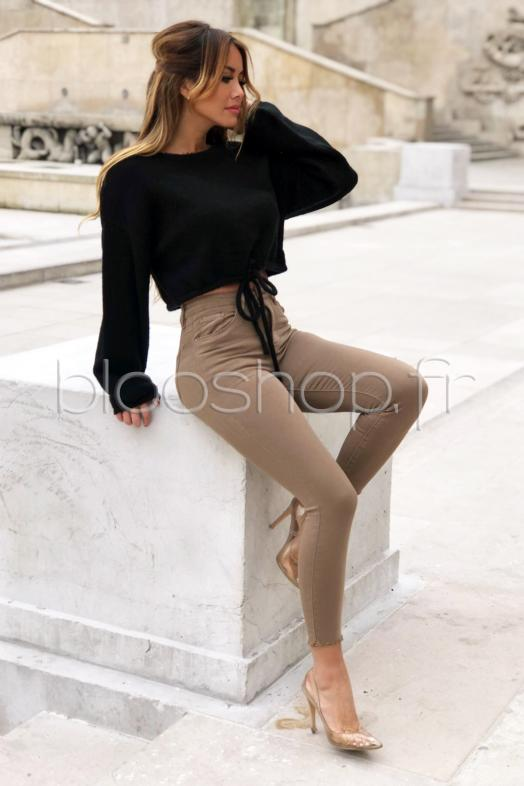 Jeans High Femme Taupe / Réf : 547