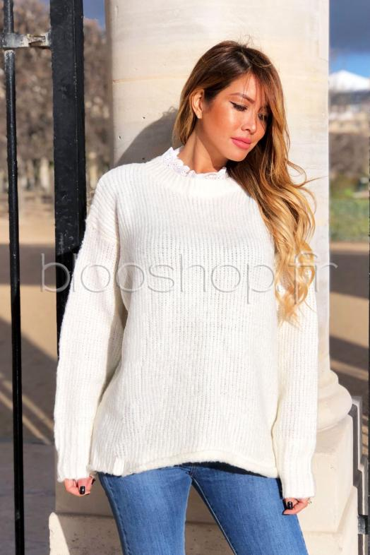 Pull Col Broderie Anglaise Femme Ecru / Réf : 7087