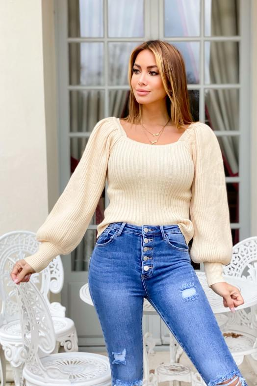 Pull Femme Manches Bouffantes Beige / Réf : 7179