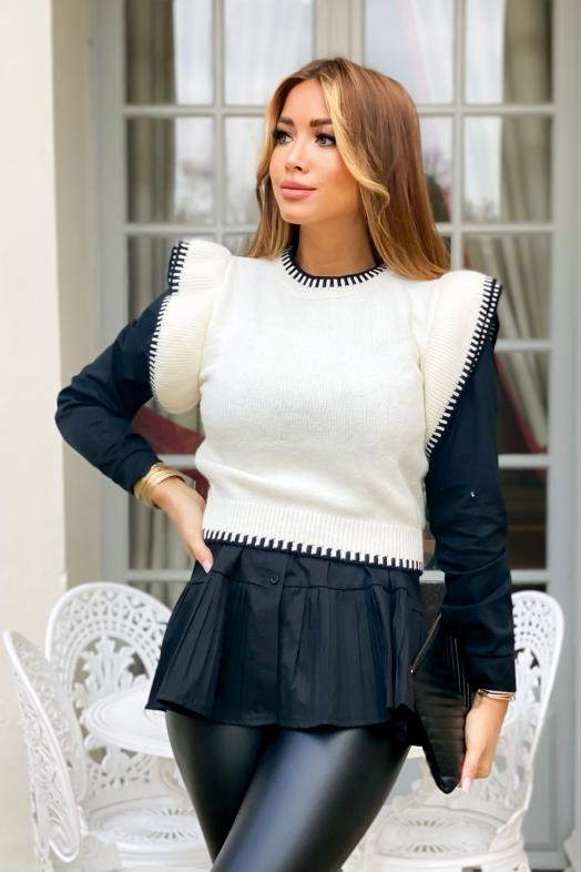 Pull Femme Manches Froufrou Blanc / Réf : 1560