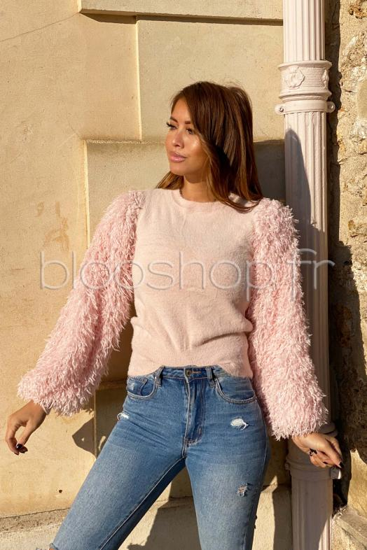 Pull Femme Manches Plumes Rose / Réf : 84