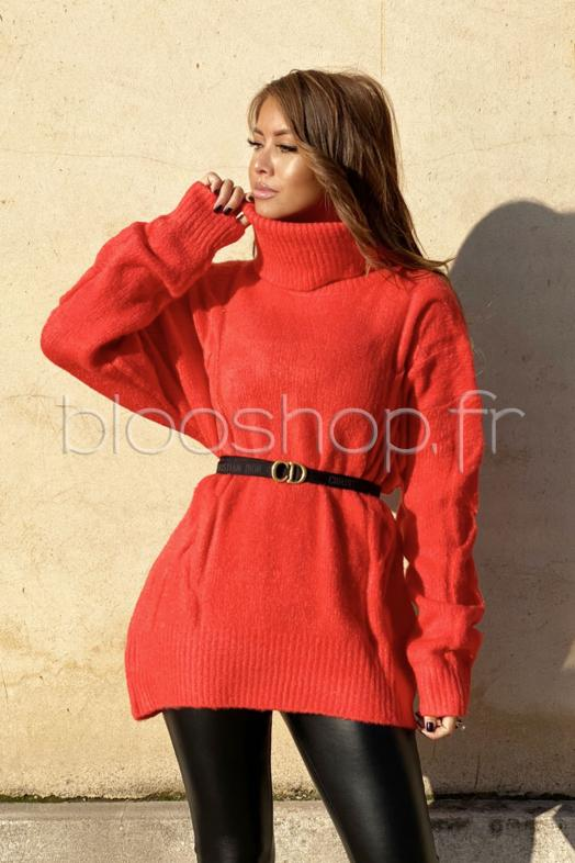 Pull Femme Oversize Corail / Réf : 9200