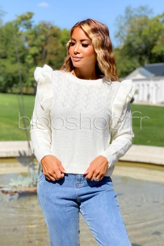 Pull Froufrou Femme Maille Blanc / Réf : 323