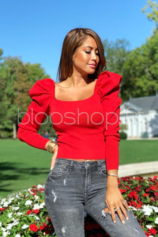 Pull Manches Bouffantes Femme Rouge / Réf : 773