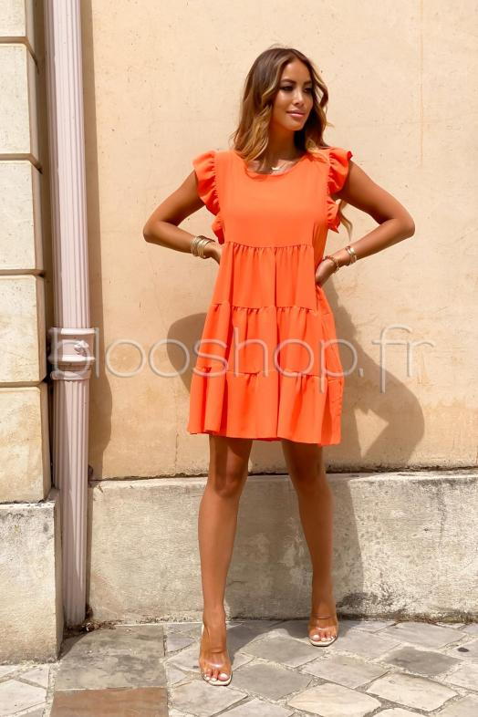 Robe Femme Ample Col Rond Orange / Réf : 968