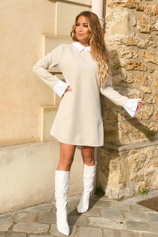 Robe Femme Col Claudine Beige / Réf : 7510-2