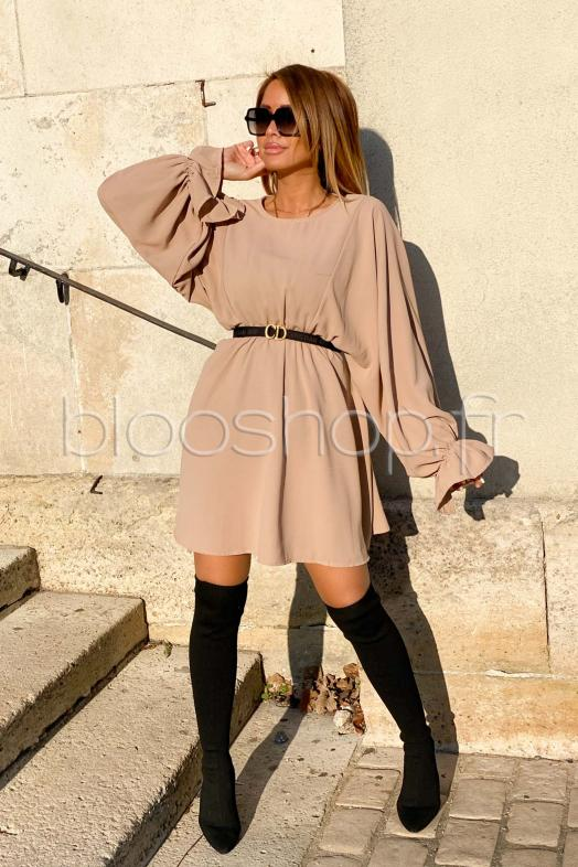 Robe Femme Manches Larges Beige / Réf : 3389