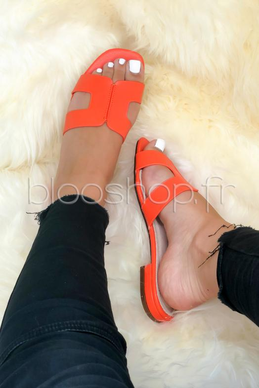 Sandales Femme Simili Orange / Réf : THF633