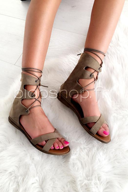 Sandales Lacets Kaki / Réf : 5688.32