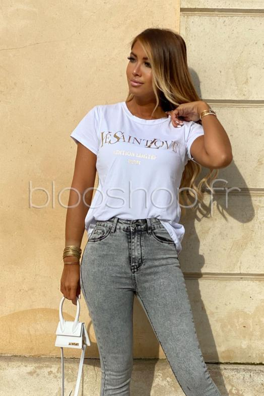 T-Shirt Femme Inscription Blanc / Réf : 8549