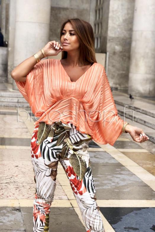 Top Papillon Lurex Femme Orange / Réf : 7024