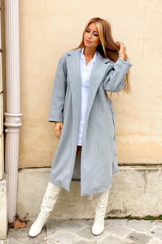 Trench Femme Oversize Gris / Réf : 6528