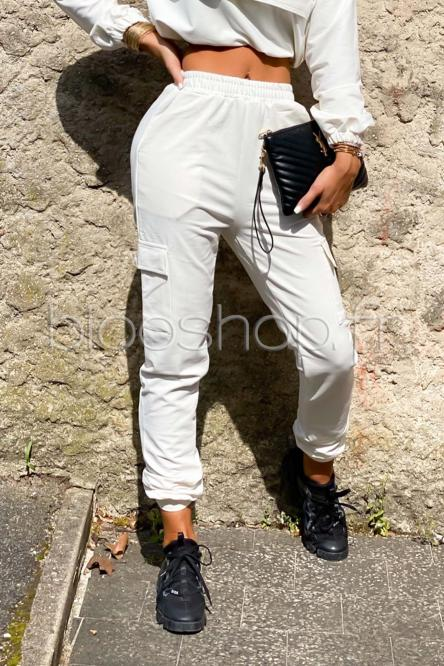 Bas de Jogging Femme Poches Blanc / Réf : 2054