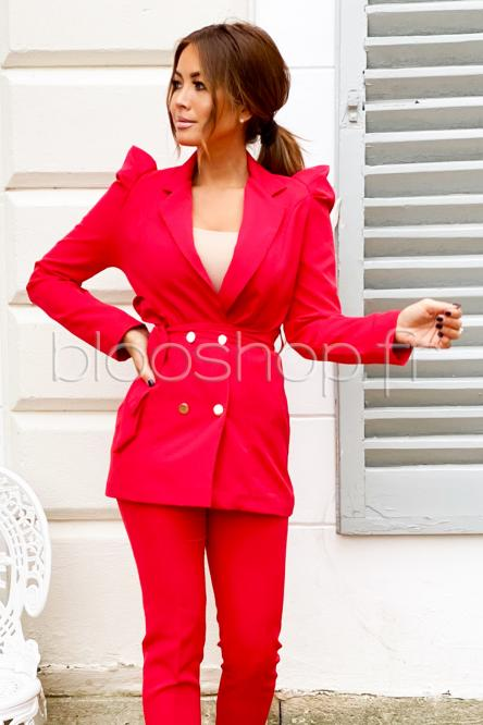 Blazer Femme Manches Bouffantes Rouge / Réf : 8299