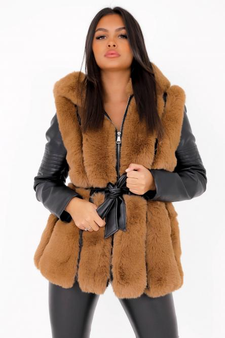 Blouson Femme Simili + Fur Camel / Réf : 6004