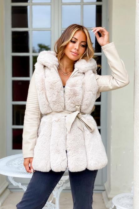 Blouson Femme Simili + Fur Crème / Réf : 6004