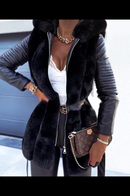 Blouson Femme Simili + Fur Noir / Réf : 6004