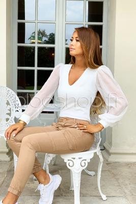 Body Manches Voile Femme Blanc