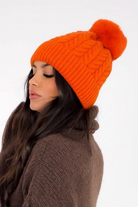 Bonnet Femme Torsadé Orange / Réf : CM1253