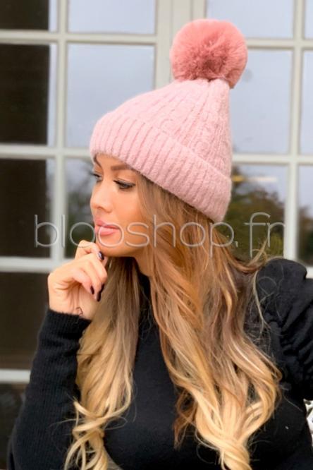 Bonnet Femme Torsadé Rose / Réf : CM1252