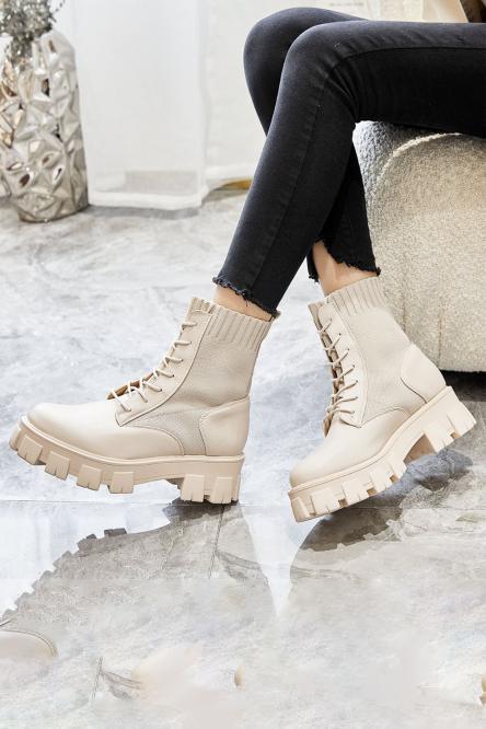 Boot's Bimatière Femme à Lacets Crème / Réf : 8359