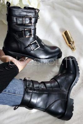 Boot's Double Zip Femme Noir / Réf : DQR0958