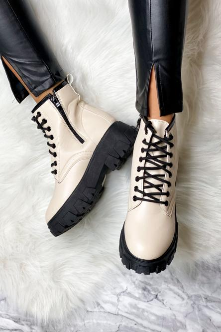 Boot's Femme à Lacets Beige / Réf : 881