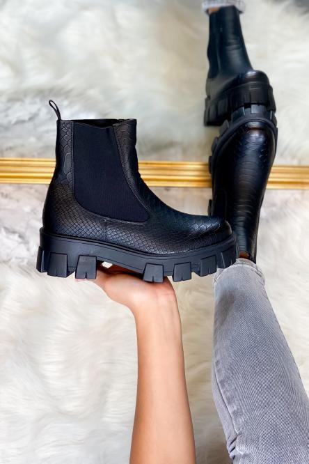Boot's Femme Effet Crocro Noir / Réf : 553-0