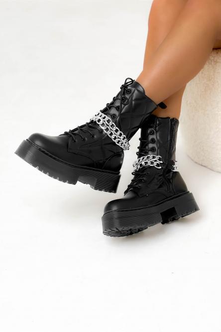 Boot's Femme Matelassées Chaînes Noir / Réf : 516-1A