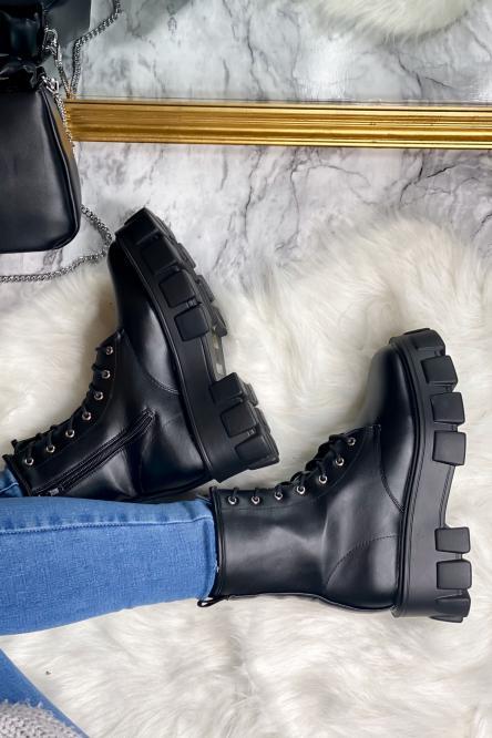 Boot's Femme Plateforme à lacets Mate Noir / Réf : 829-9-1