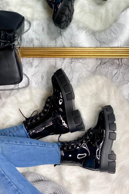 Boot's Femme Plateforme à lacets Vernis Noir / Réf : 829-9