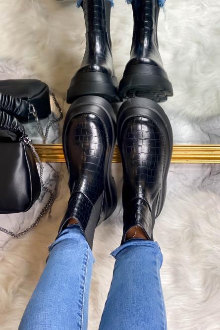 Boot's Femme Plateforme Effet Croco Noir / Réf : VT006