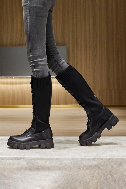 Bottes Bimatière Femme à lacets Noir / Réf : 8360