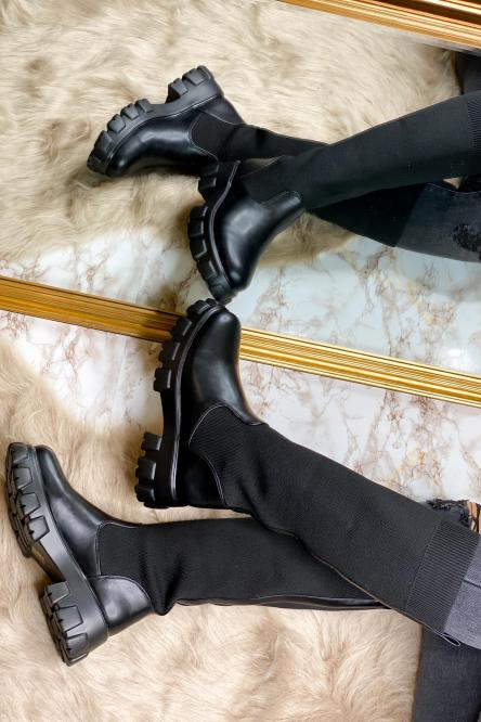 Bottes Femme Chaussettes Noir / Réf : RQ356