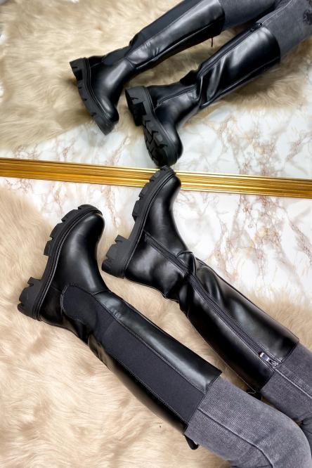 Bottes Femme Hautes Élastiques Noir / Réf : RQ349
