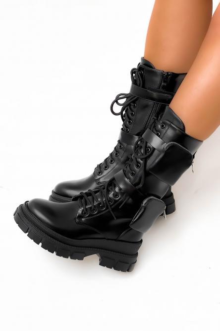 Bottes Femme Poches Noir / Réf : KSL703