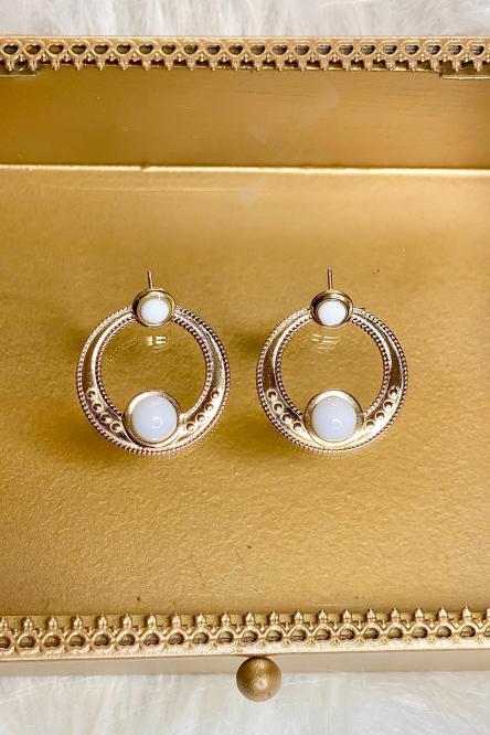 Boucles d'oreilles Femme Blanc / Réf : 143-1