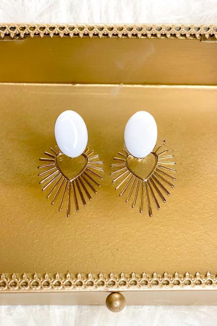 Boucles d'oreilles Femme Blanc / Réf : 20205-1