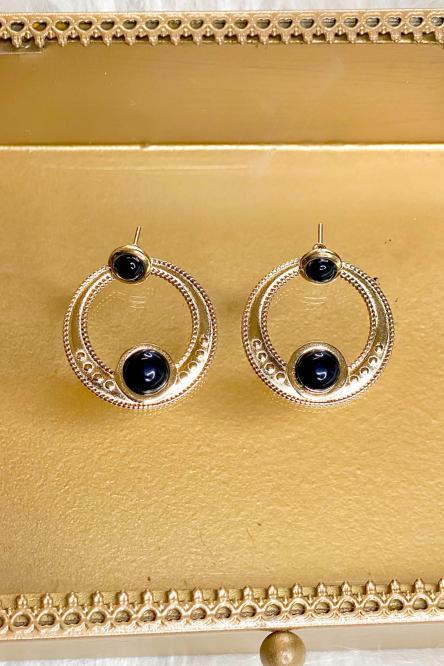 Boucles d'oreilles Femme Noir / Réf : 143-0