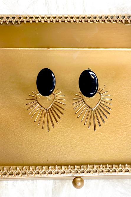 Boucles d'oreilles Femme Noir / Réf : 20205-0